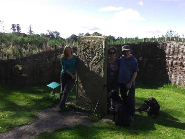 Pictish stone, near Dyke, with friends