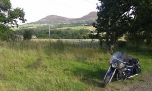 Bardmobile in the Rhymer's Glen - Eildon Hills in the background